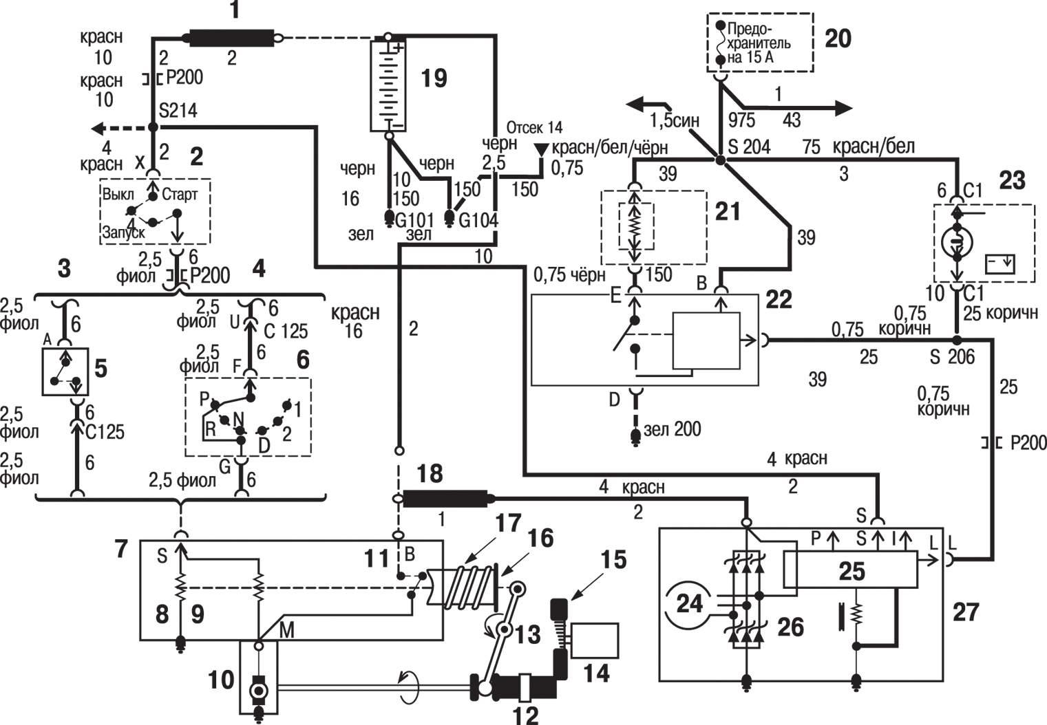 Схема монтажного блока предохранители