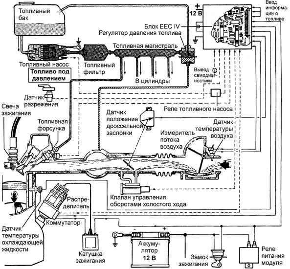 вакуумные магистрали управления заслонками v6 ford