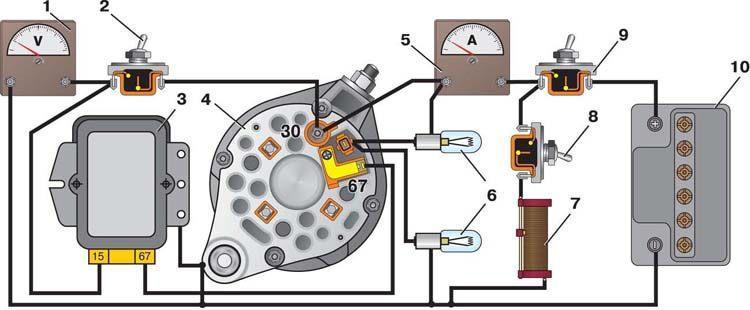 схема проверки реле регулятора