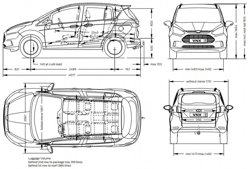 Габаритные размеры Форд Би-Макс с 2012 (dimensions Ford B-Max)