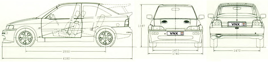 Габаритные размеры Форд Эскорт РС 1992 (dimensions Ford Escort RS Cosworth)