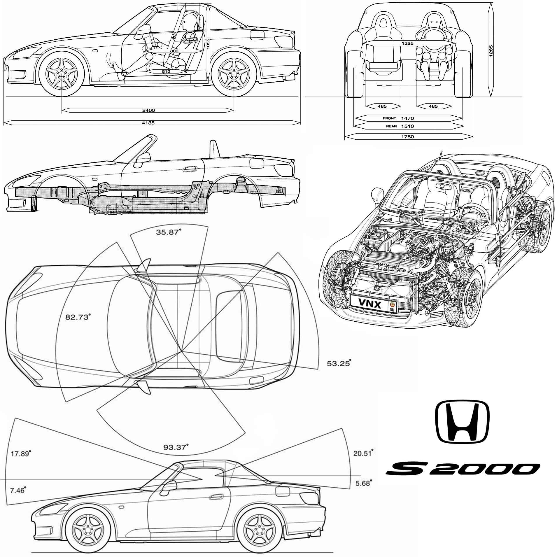 Размеры салона Хонда С2000 1999-2003 (interior dimensions Honda S2000) ...