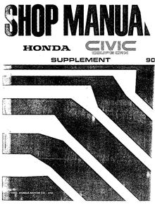 Honda Civic Coupe CRX 1990 Shop Manual Supplement
