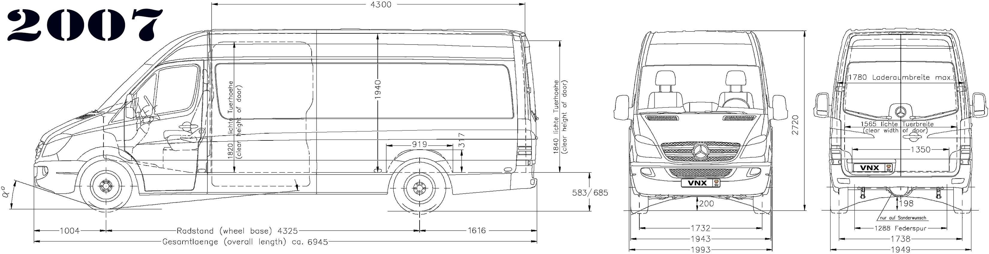 Габаритные размеры Мерседес-Бенц Спринтер 2006-2013 (dimensions Mercedes-Benz Sprinter W906)
