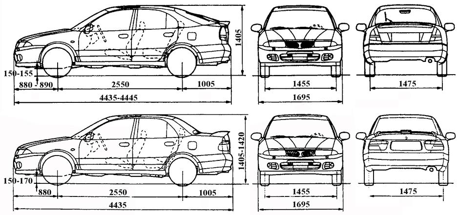 Габаритные размеры Мицубиси Харизма 1995-2004 (dimensions Mitsubishi Carisma)