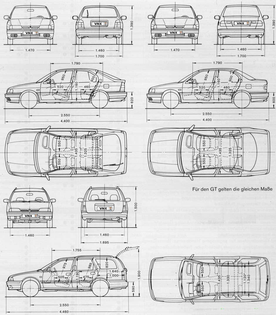Габаритные размеры Ниссан Примера П10 (dimensions Nissan Primera P10)