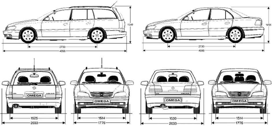 Габаритные размеры Опель Омега Б 1993-1999 (dimensions Opel Omega B)