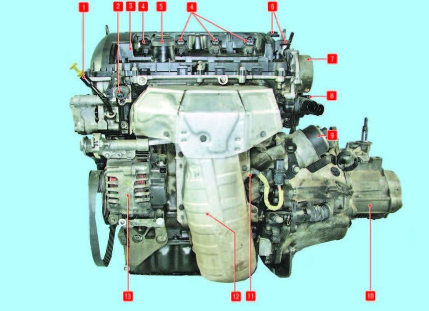 Компоновка силового агрегата с двигателем объемом 1,6 л и механической коробкой передач (вид спереди)