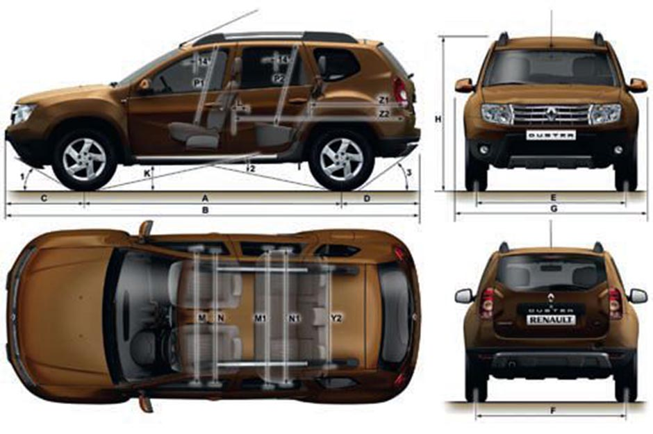 Габаритные размеры Рено/ Дачия Дастер (dimensions Renault/ Dacia Duster 2014)