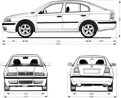 Габаритные размеры Шкода Октавия 1996-2004 (dimensions Skoda Octavia)