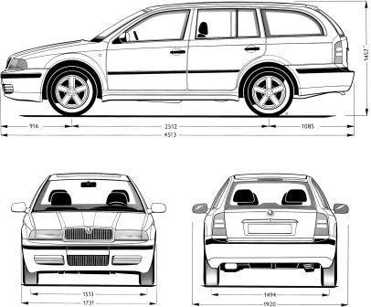 Габаритные размеры Шкода Октавия 1996-2004 универсал - combi (dimensions Skoda Octavia)