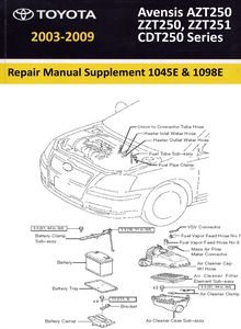 Supplement (дополнение к Repair Manual RM1018E) Toyota Avensis ZZT250, ZZT251, AZT250, CDT250