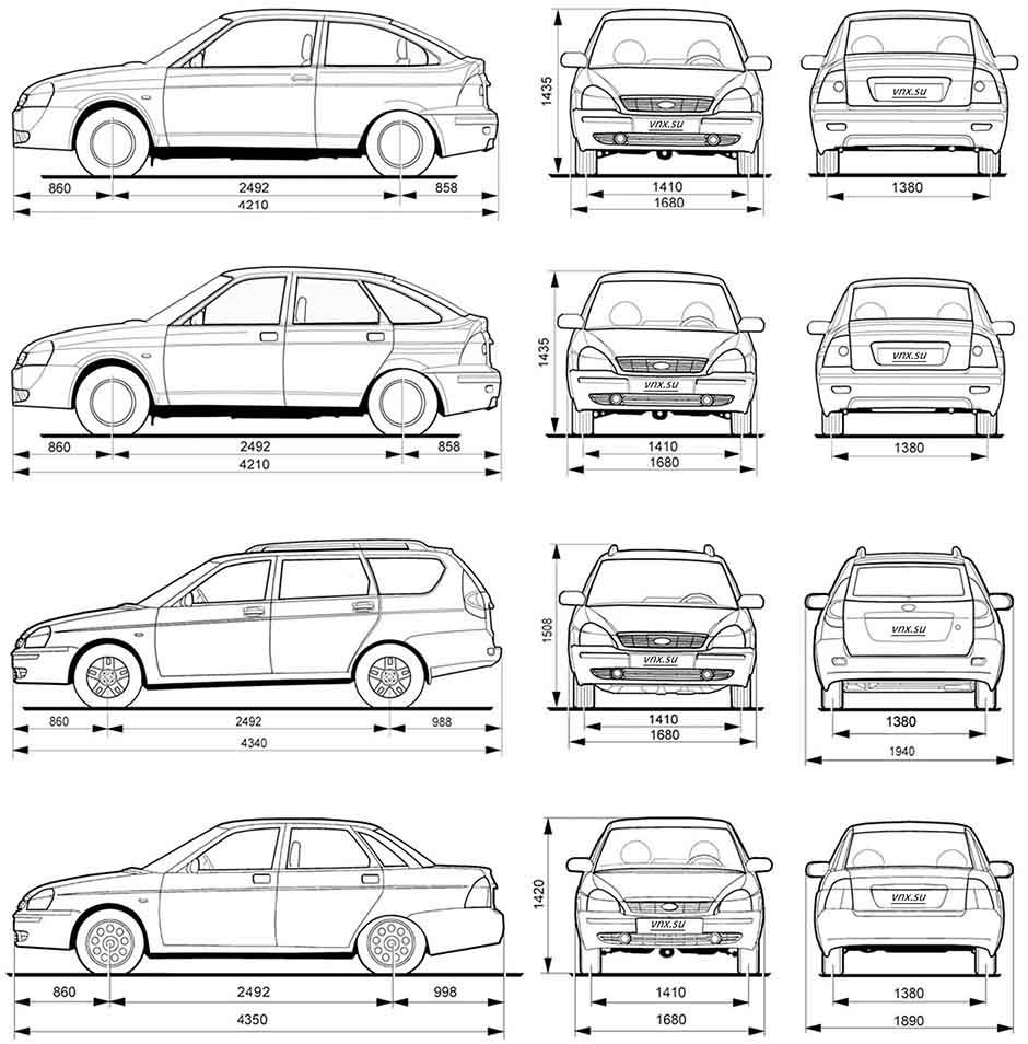 Габаритные размеры Лада Приора ВАЗ-2170, ВАЗ-2171, ВАЗ-2172 (dimensions Lada Priora)