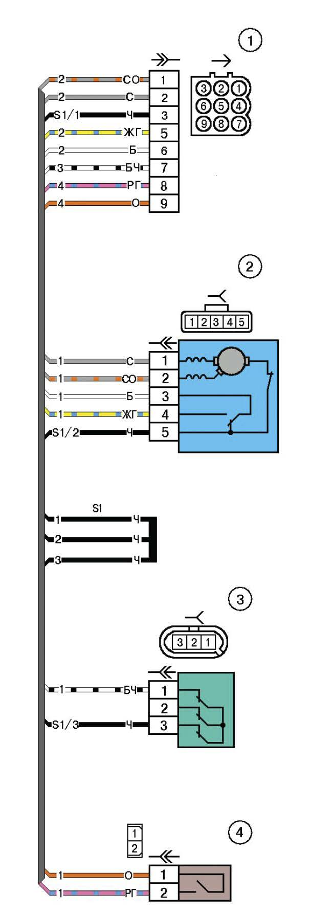 Схема электрических соединений жгута коробки воздухопритока автомобиля Лада Калина (LADA 1117 LADA 1118 LADA 1119)