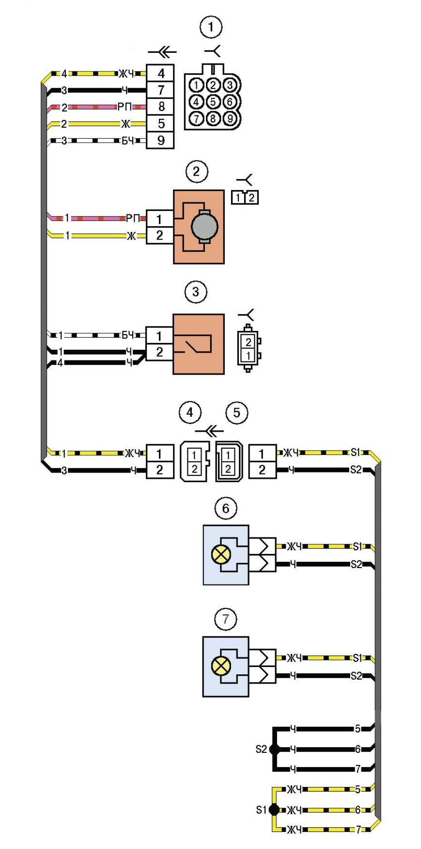 Схема электрических соединений жгута заднего дополнительного левого и жгута проводов фонарей освещения номерного знака автомобиля Лада Калина (LADA 1117 LADA 1118 LADA 1119)