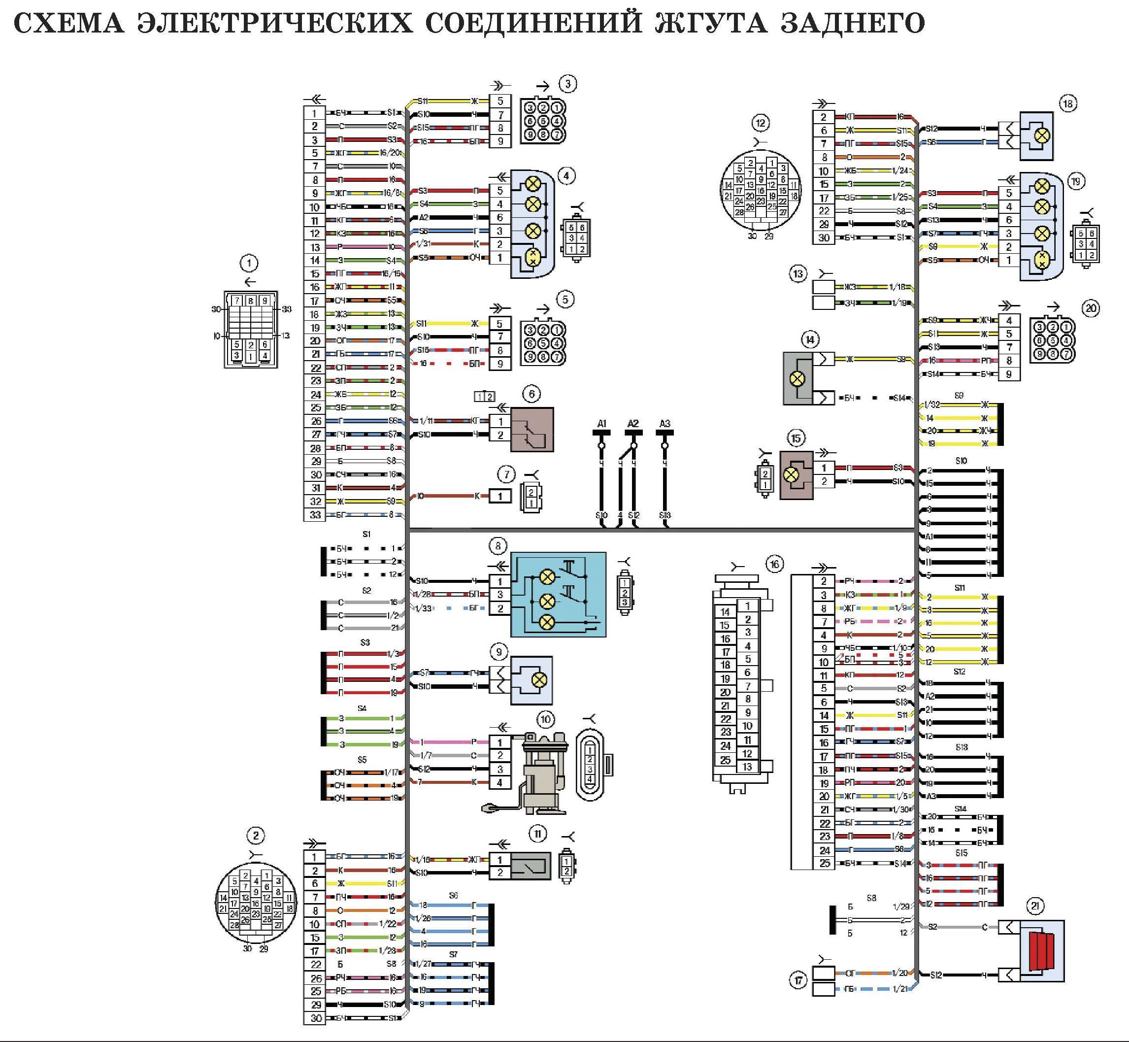 Схема электрических соединений жгута заднего автомобиля Лада Калина (LADA 1117 LADA 1118 LADA 1119)