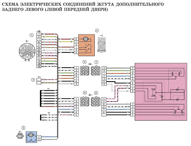 Схема электрических соединений жгута дополнительного заднего левого (левой передней двери) автомобиля Лада Калина (LADA 1117 LADA 1118 LADA 1119)