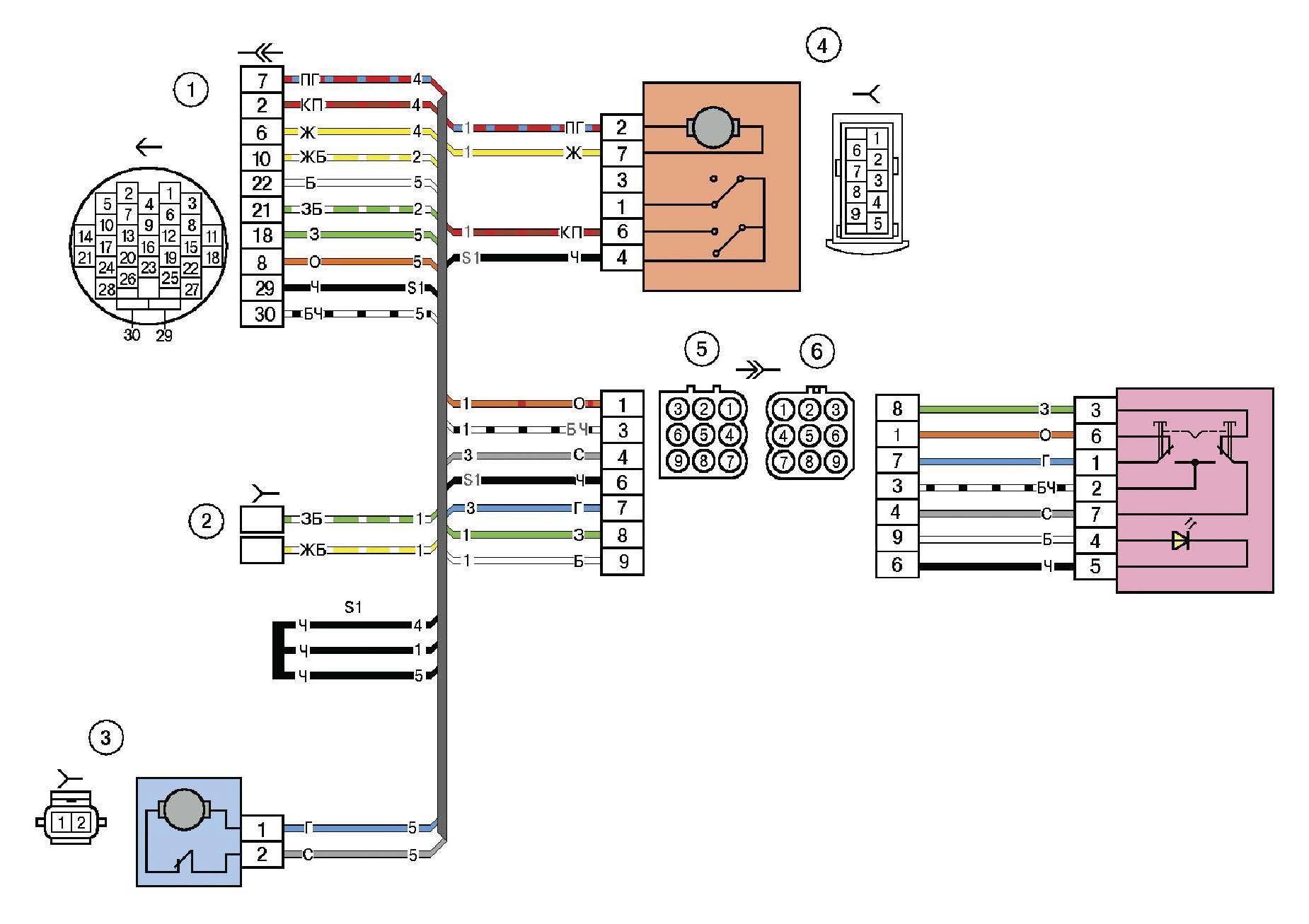 Схема электрических соединений жгута дополнительного заднего правого (правой передней двери) автомобиля Лада Калина (LADA 1117 LADA 1118 LADA 1119)