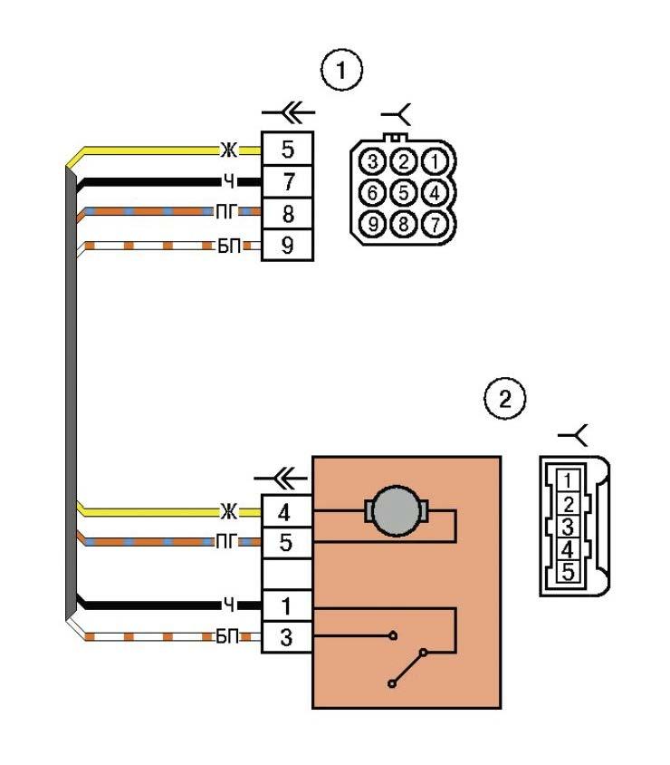 Схема электрических соединений жгута дополнительного заднего правого автомобиля Лада Калина (LADA 1117 LADA 1118 LADA 1119)