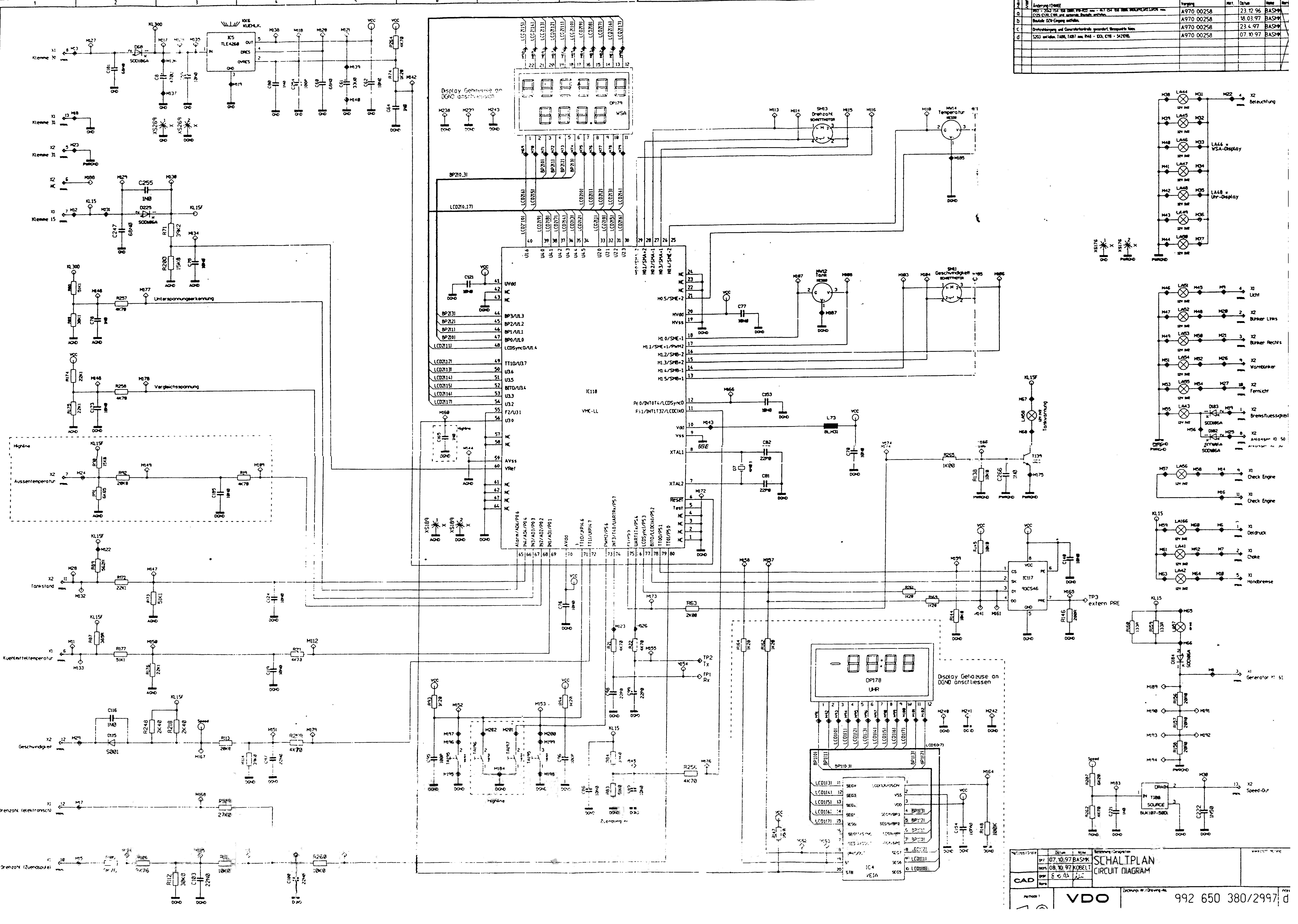 Приборная панель схема vdo