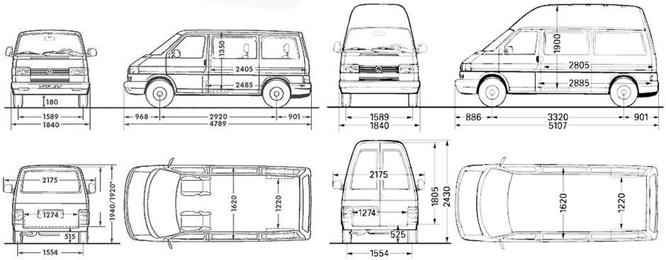 фольксваген транспортер т4 чертежи