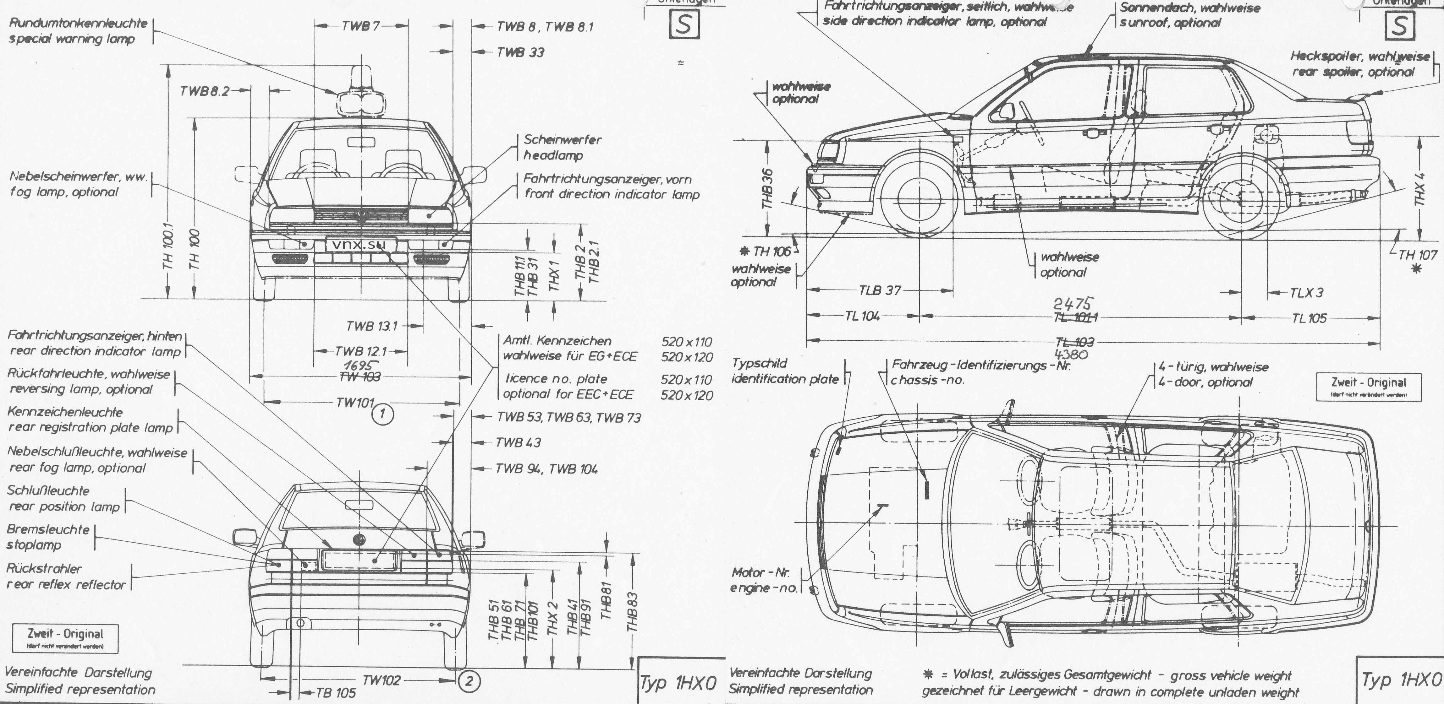 Габаритные размеры Фольксваген Венто 1991-1997 (dimensions VW Vento)